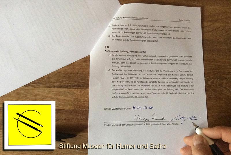 """Gründung der Stiftung """"Museen für Humor und Satire"""" am 30. März 2016"""